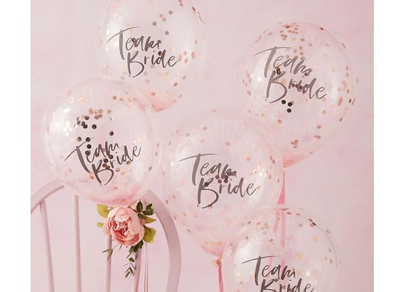 hen party balloons, balloons for a hen party, team bride, team bride Ginger Ray, rose gold balloons for a hen party