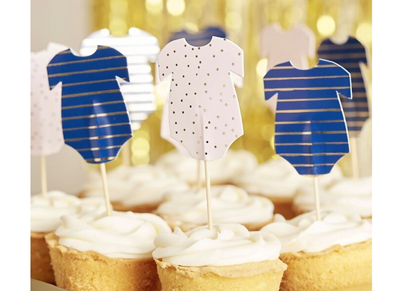 Pink And Blue Baby Grow Cupcake Toppers (x 12)