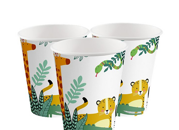 get wild party cups, wild one party theme, safari party tableware, jungle party tableware