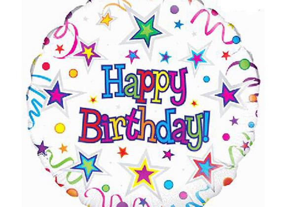 "Inflated Ribbon And Stars 18"" Happy Birthday Balloon"