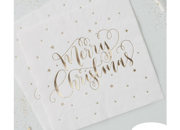 Gold Foil Merry Christmas Napkins x 20