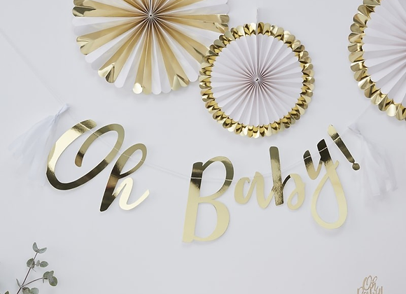 baby shower decorations, gold baby shower theme, oh baby ginger ray, oh baby decorations, gold baby shower