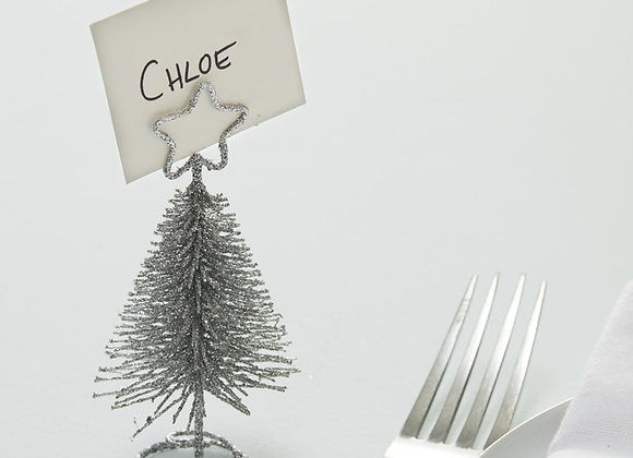 Silver Tree Shaped Place Card Holders