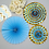 Thumbnail: Blue And Gold Paper Fans x 3