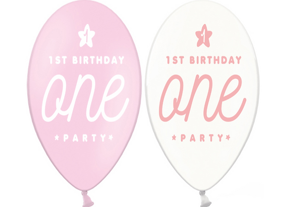 First Birthday Balloons x 6