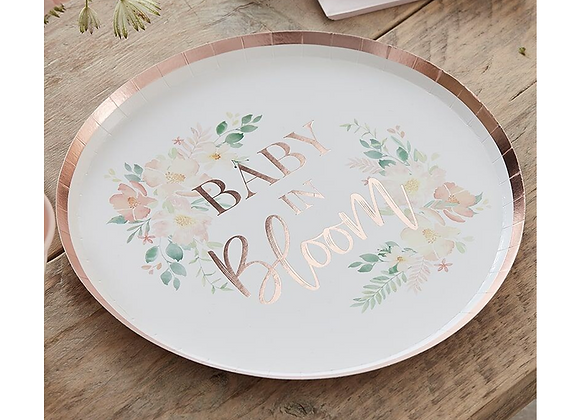 Baby In Bloom baby shower tableware, floral baby shower items