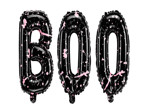 BOO Black And Pink Spattered Letters