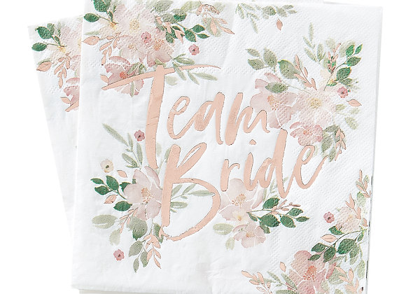hen party tableware, napkins for a hen party, ginger ray floral hen party, rose gold hen party items, pretty hen party napkin