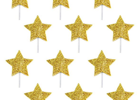 Gold Glitter Star Cake Toppers