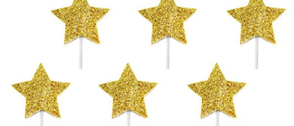 Gold Glitter Star Cake Toppers