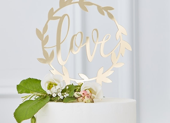 "Gold ""love"" Acrylic Cake Topper"