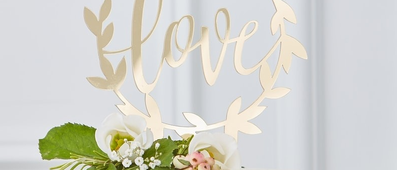 """Gold """"love"""" Acrylic Cake Topper"""
