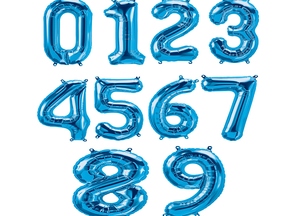 Balloon Numbers - Blue 16""