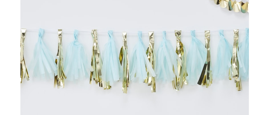 Blue And Gold Tassel Garland Kit