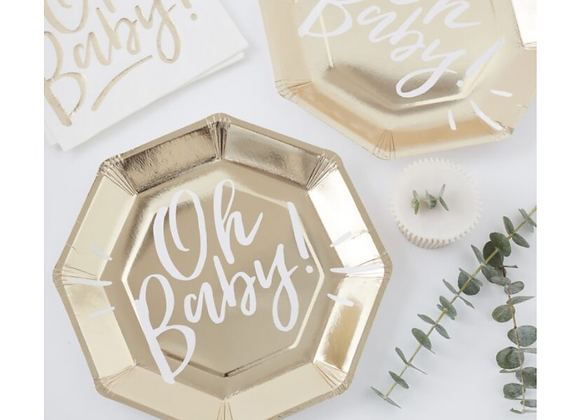baby shower tableware, oh baby, ginger ray oh baby range, gold baby shower tableware, baby shower plates, baby shower plates