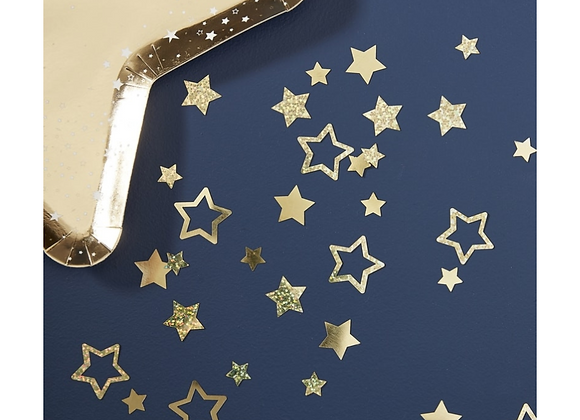 Gold Star Shapes Christmas Table Confetti
