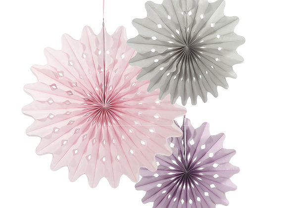 Pink, Purple & Grey Paper Fans