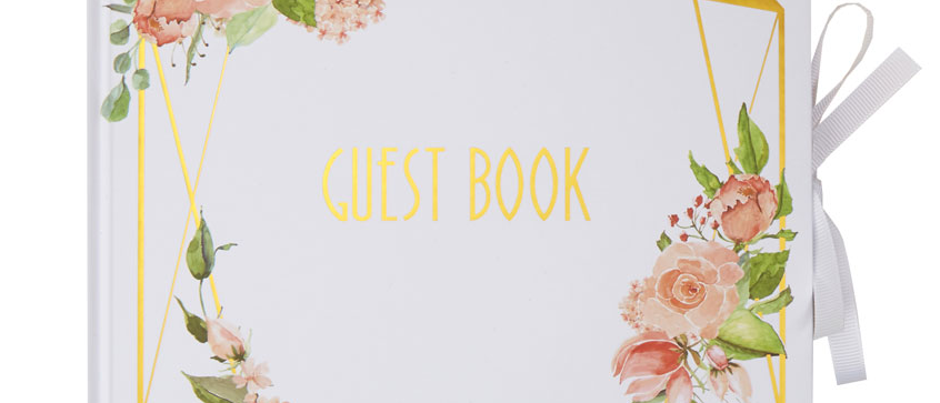Floral And Gold Guest Book