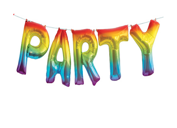 """rainbow party decorations, party balloon banner, rainbow """"party"""" balloon garland, decorations for a rainbow themed party"""