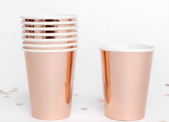 Rose Gold Shiny Paper Cups (x 8)