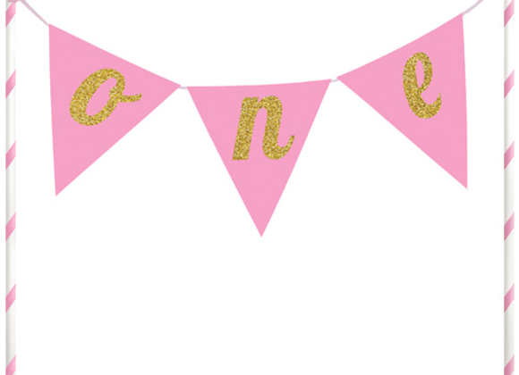 Pink One Birthday Cake Banner