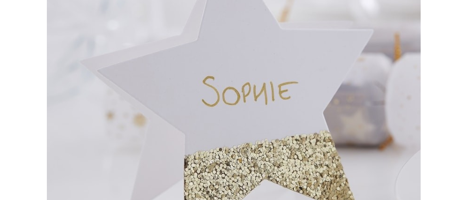 Star Shaped Gold Glitter Place Cards x 6