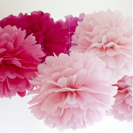 Pink paper pom poms