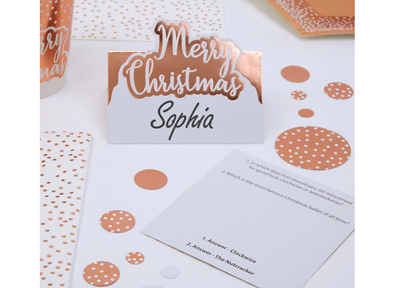 Merry Christmas Rose Gold Place Cards x 10