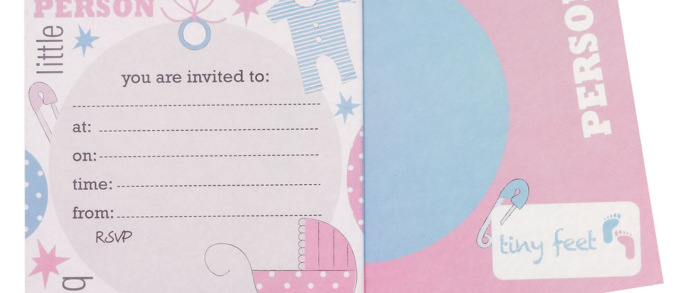 Pink And Blue Baby Shower Invites