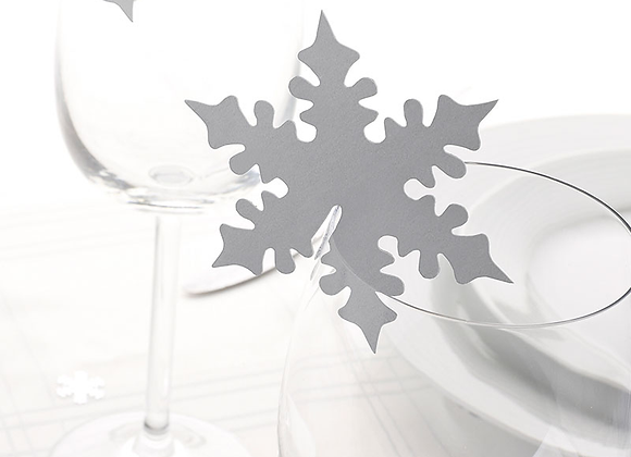 Silver Shimmering Snowflake Glass Toppers
