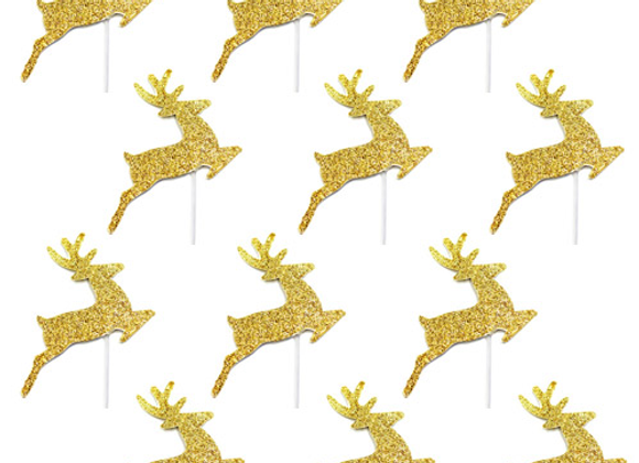 Gold Glitter Reindeer Cake Toppers