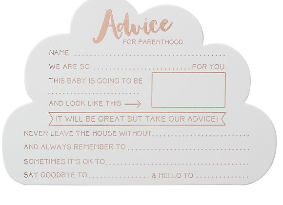 Advice For Parents To Be Cards - Baby Shower Game