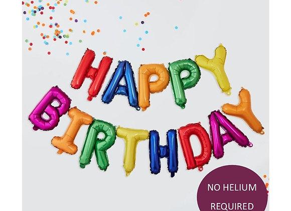 Rainbow Happy Birthday Balloon Garland