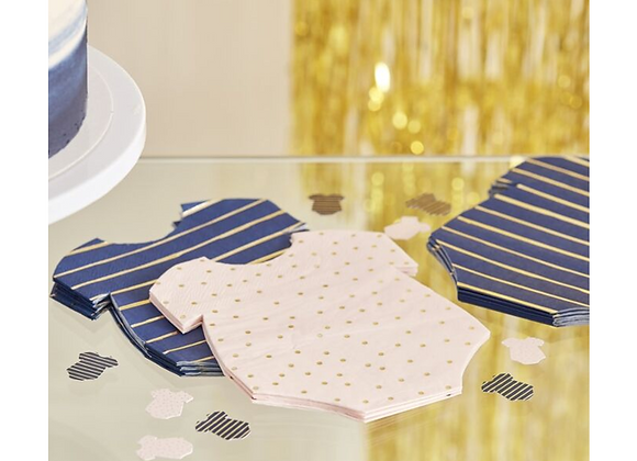 Pink And Blue Baby Grow Napkins (x 16)