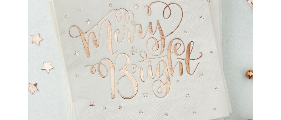 Rose Gold Merry & Bright Napkins