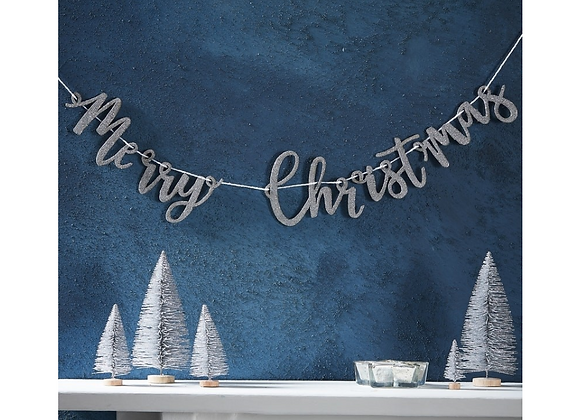Silver Wooden Merry Christmas Garland
