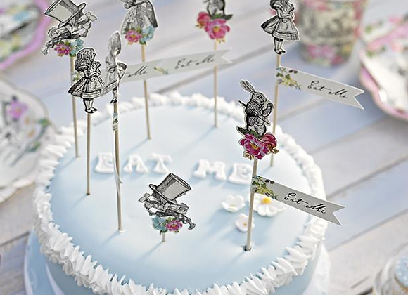 Alice Tea Party Cake Toppers
