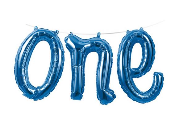 Blue One Balloon Garland