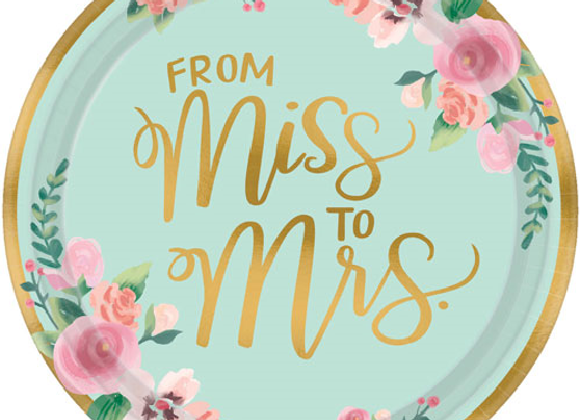 From Miss To Mrs Floral Hen Party Plates