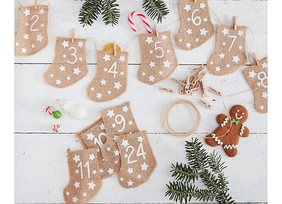 Advent Calendar Kit - Hessian Stockings