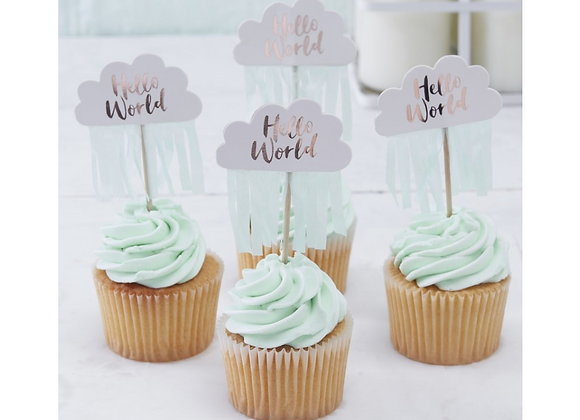 Hello World Cupcake Toppers x 10
