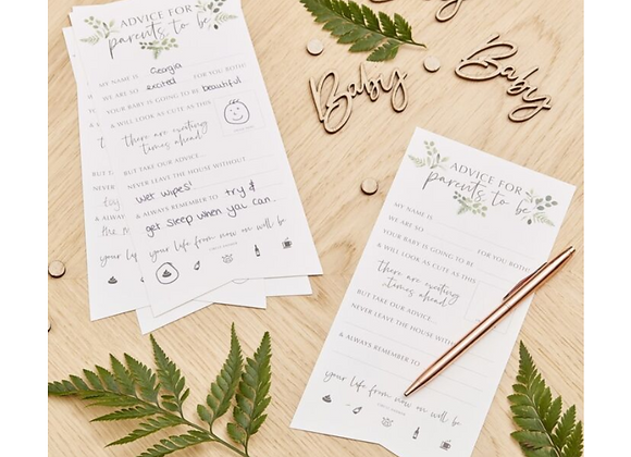 Botanical Baby Shower Advice Cards (x 10)