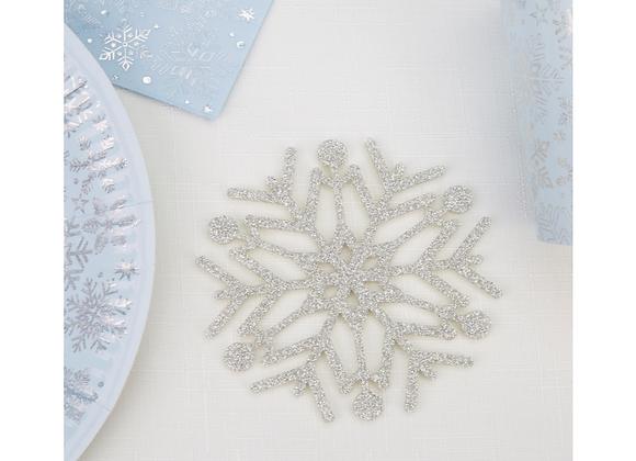 Silver Snowflake Drinks Coasters x 4
