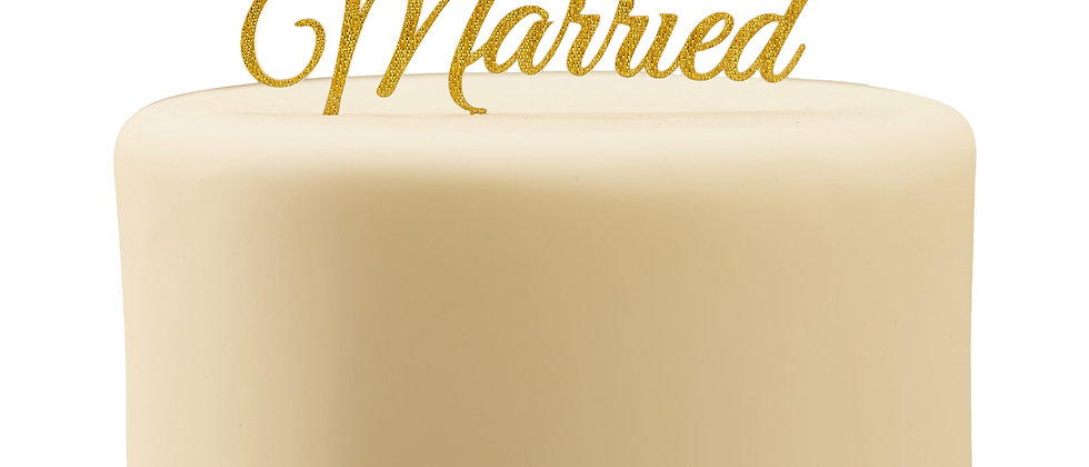 Sparkling Gold Just Married Cake Topper