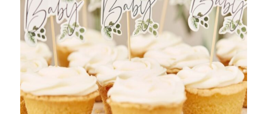 baby shower cupcake toppers, botanical baby decorations, baby shower cake decorations