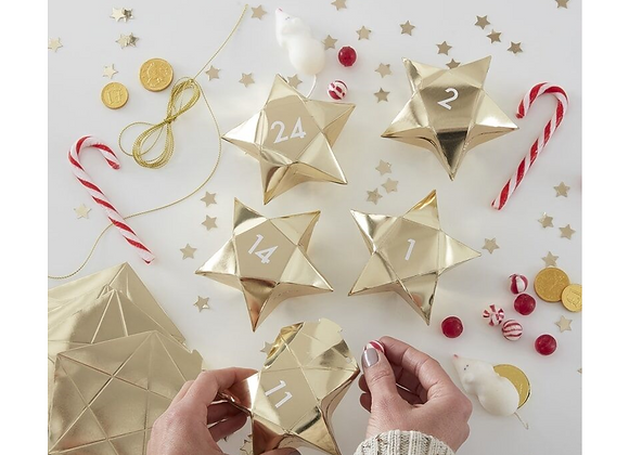 advent boxes to fill, gold advent boxes, advent calendar for children, fill your own advent calendar