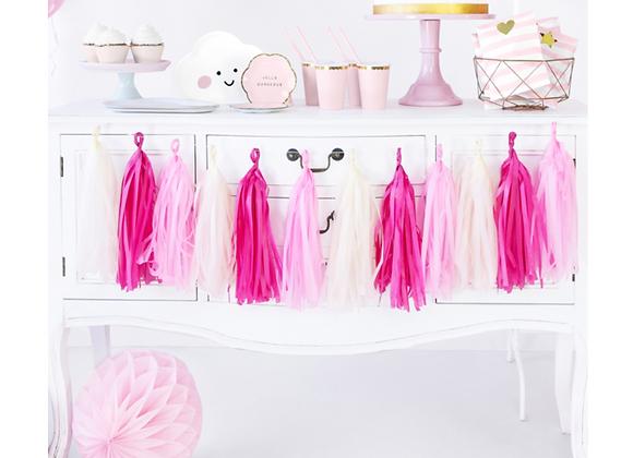 pink tassel garland, pink baby shower decorations, pink birthday party decorations, girl's birthday party decorations