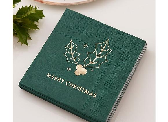 christmas napkins, green Christmas napkins, Christmas canape napkins, Christmas small napkins, Merry Christmas napkins