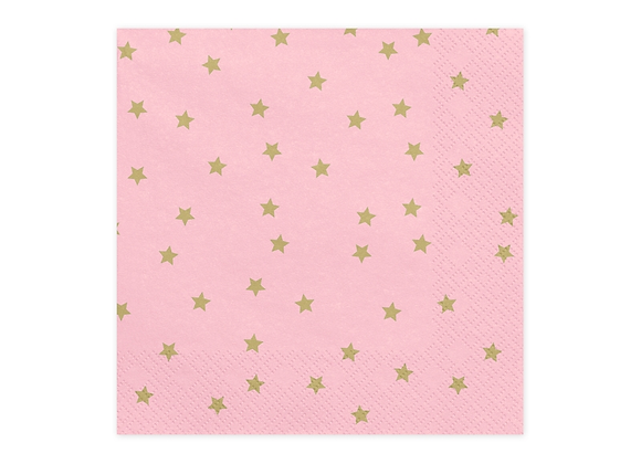 Pink And Gold Star Napkins