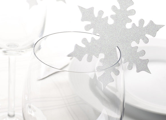 Shimmering Snowflake Glass Toppers